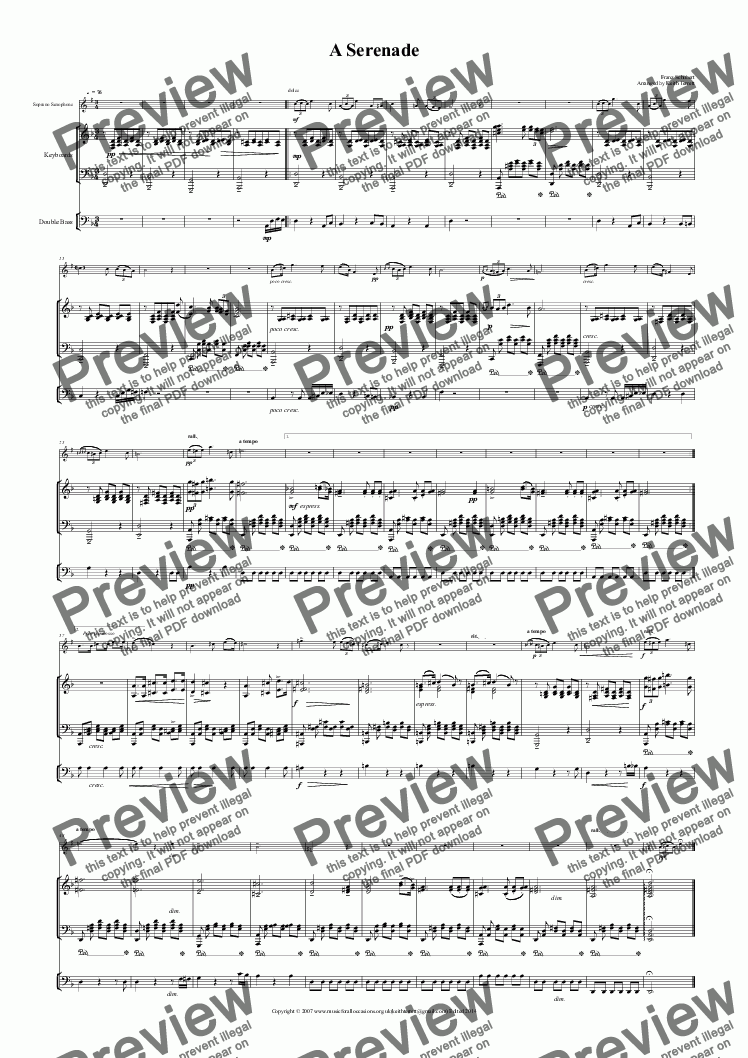 page one of A Serenade for Soprano Saxophone & Keyboard