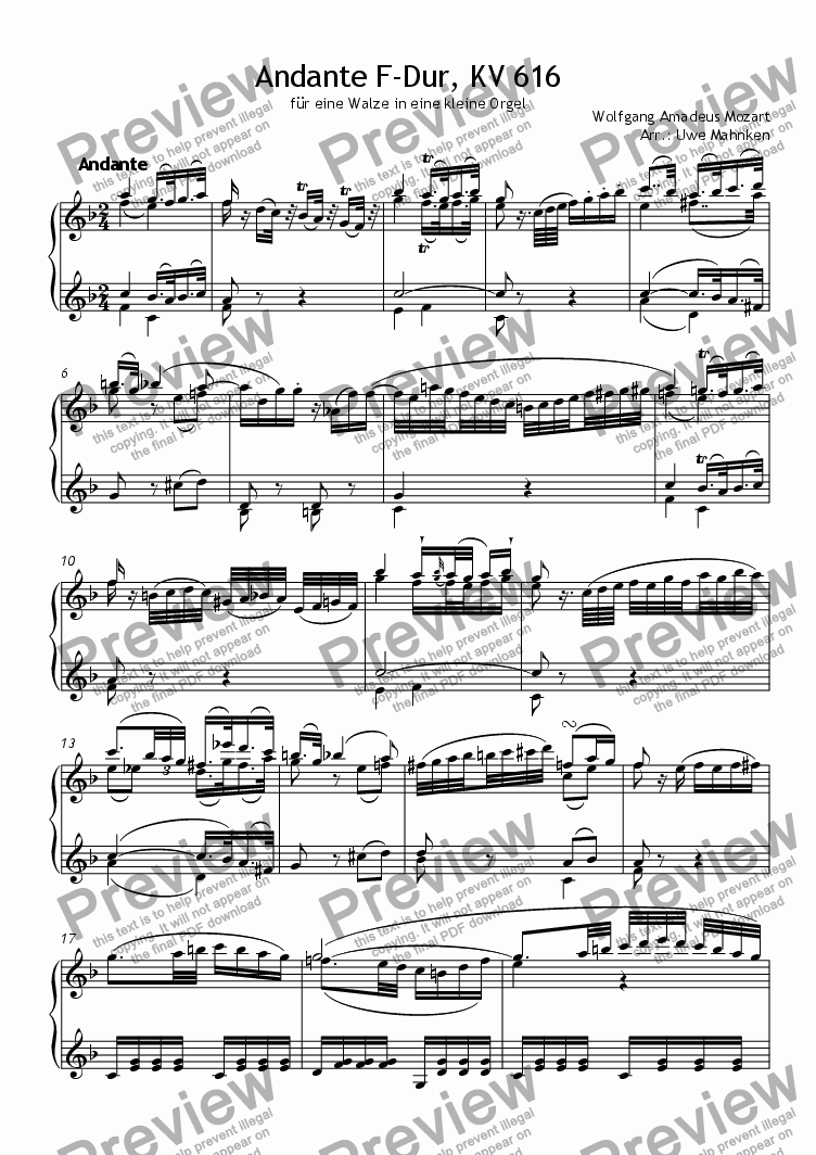 page one of Andante KV 616 (Accordion)