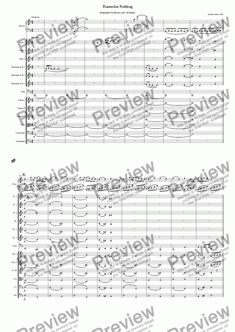 page one of Russian Spring (Rhapsody for piano and orchestra)ASALTTEXT