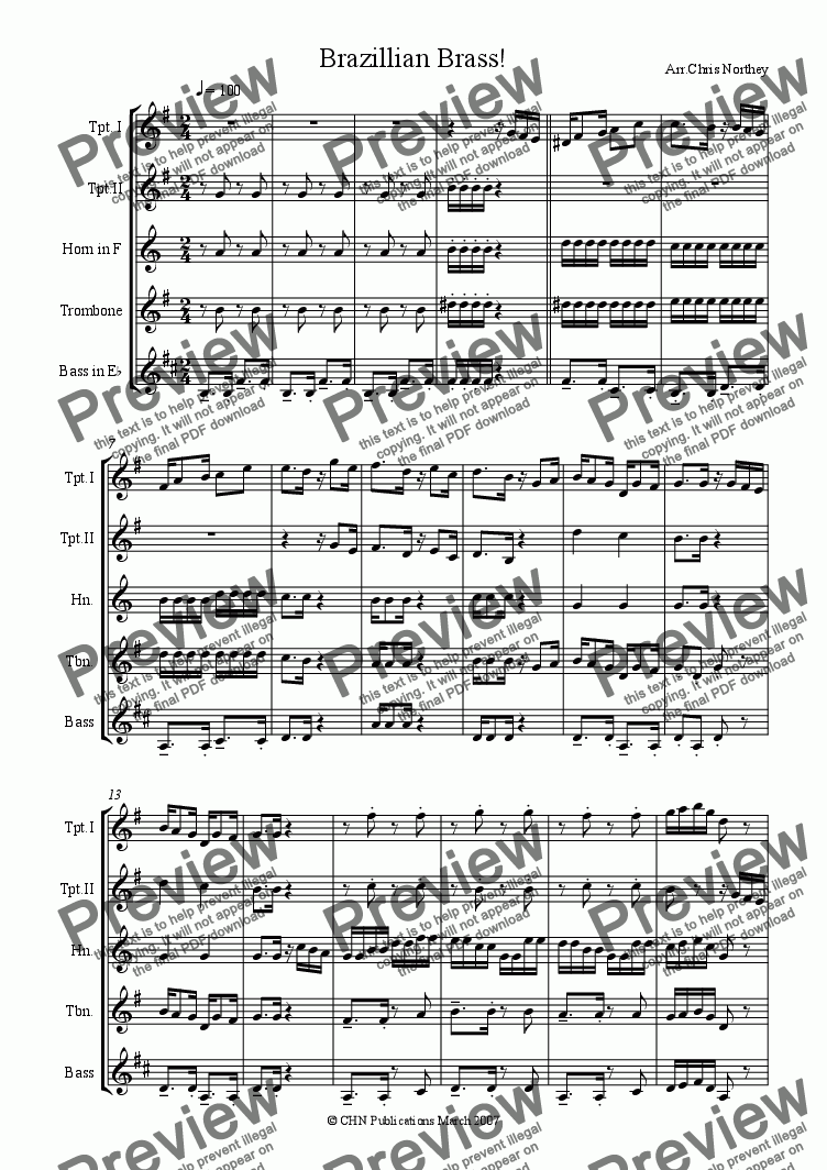 page one of Brazillian Brass!