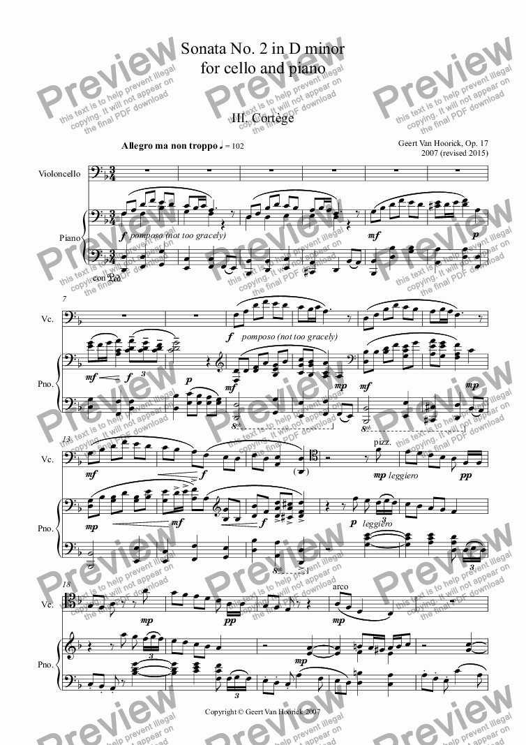 page one of Sonata No. 2 in D minor for cello and piano, Op. 17 - III. Cortège