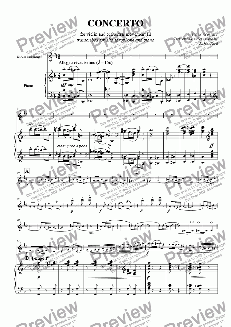 page one of <B>TCHAIKOVSKY</B> Concerto for Violin and orchestra; transcribed for Alto Saxophone and Piano