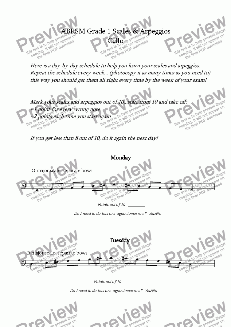 page one of Cello - Grade 1 Scale PlanASALTTEXT