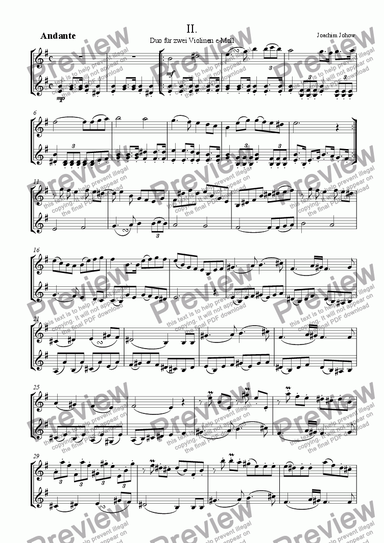 page one of Violin Duo in e - minor (2. part)