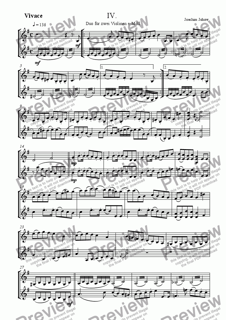 page one of Violin Duo in e - minor (4. part)
