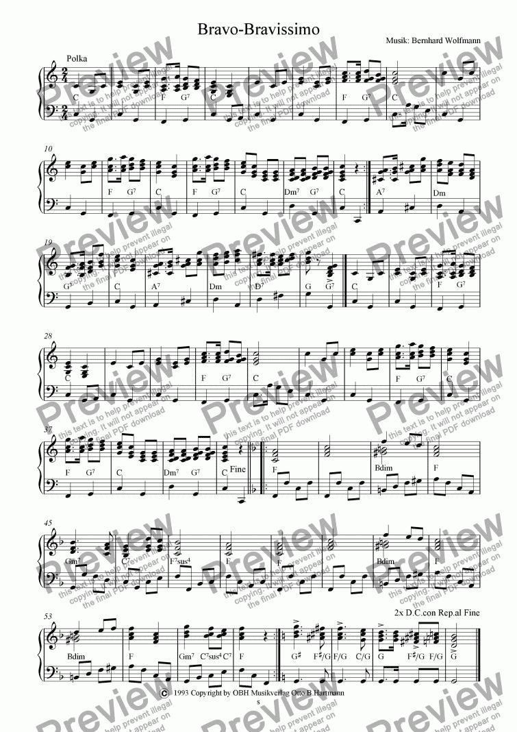 bravo bravissimo download sheet music pdf file
