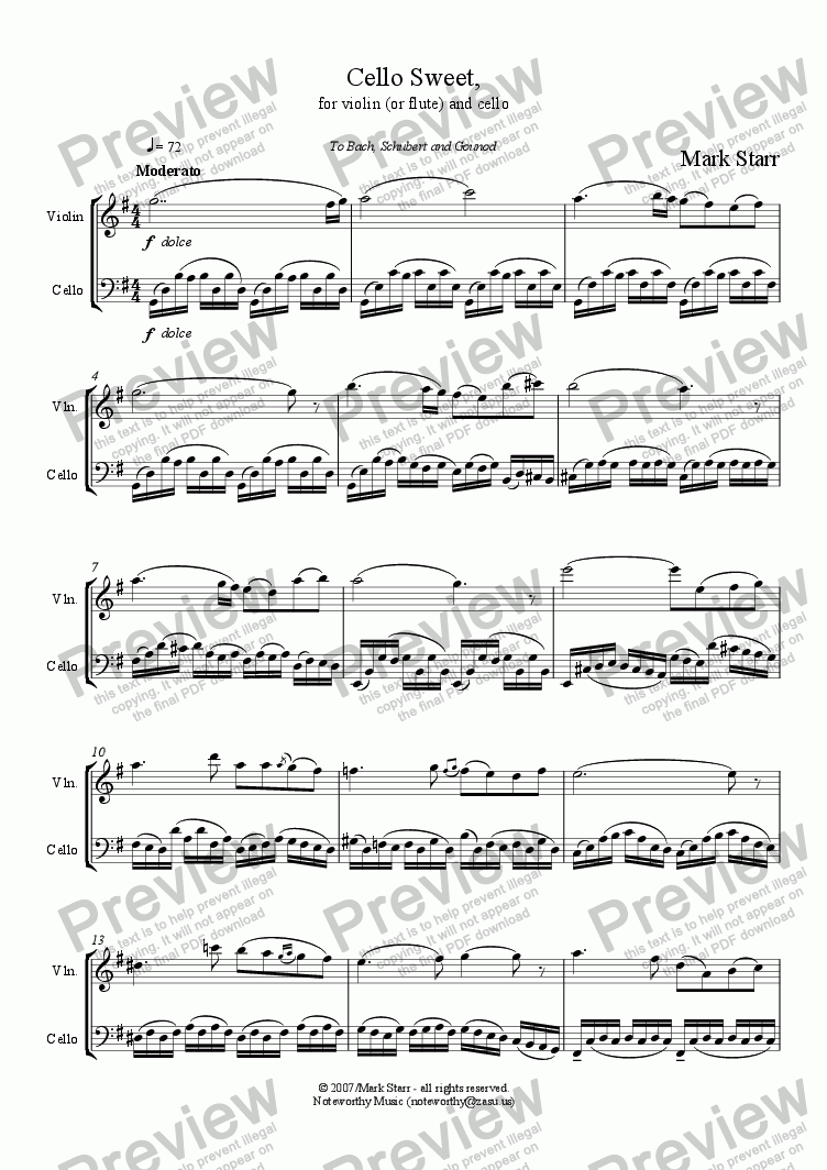 page one of Cello Sweet, for violin [or flute] and violincello
