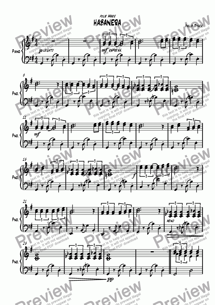 page one of Habanera