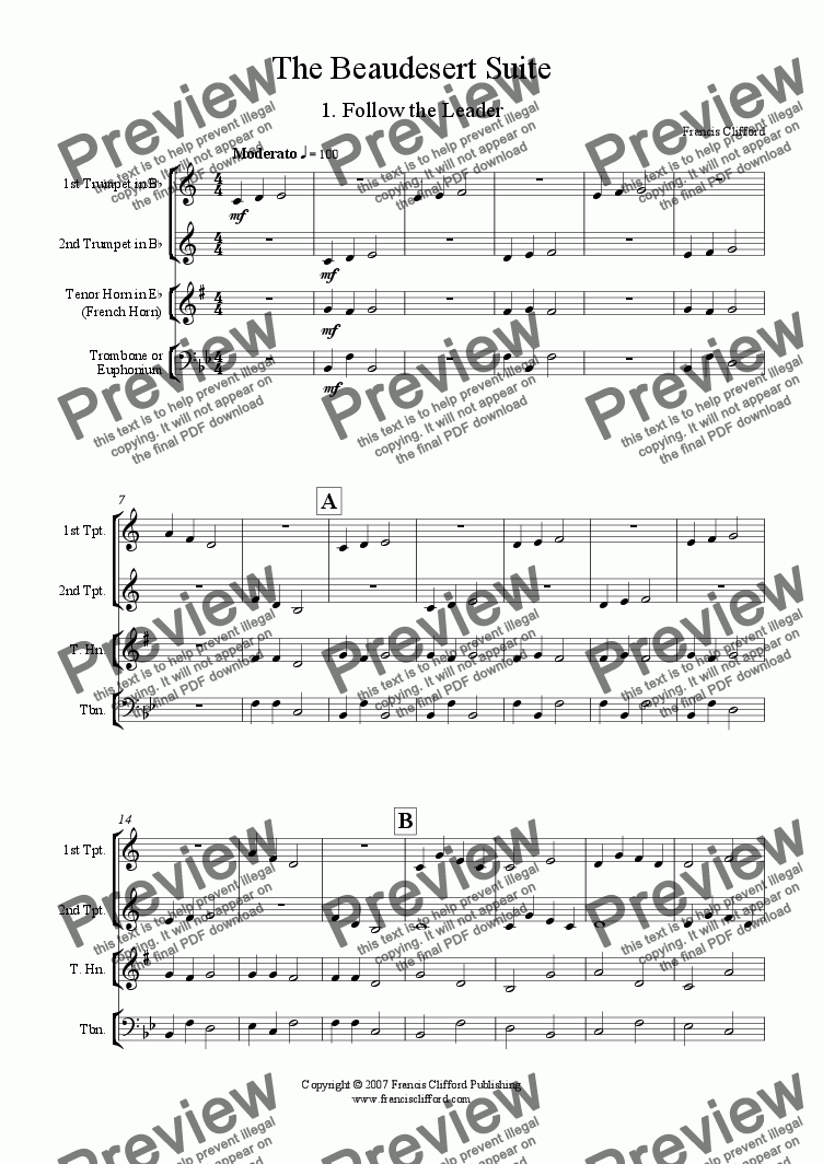 page one of Beaudesert Suite (Brass Quartet Version)