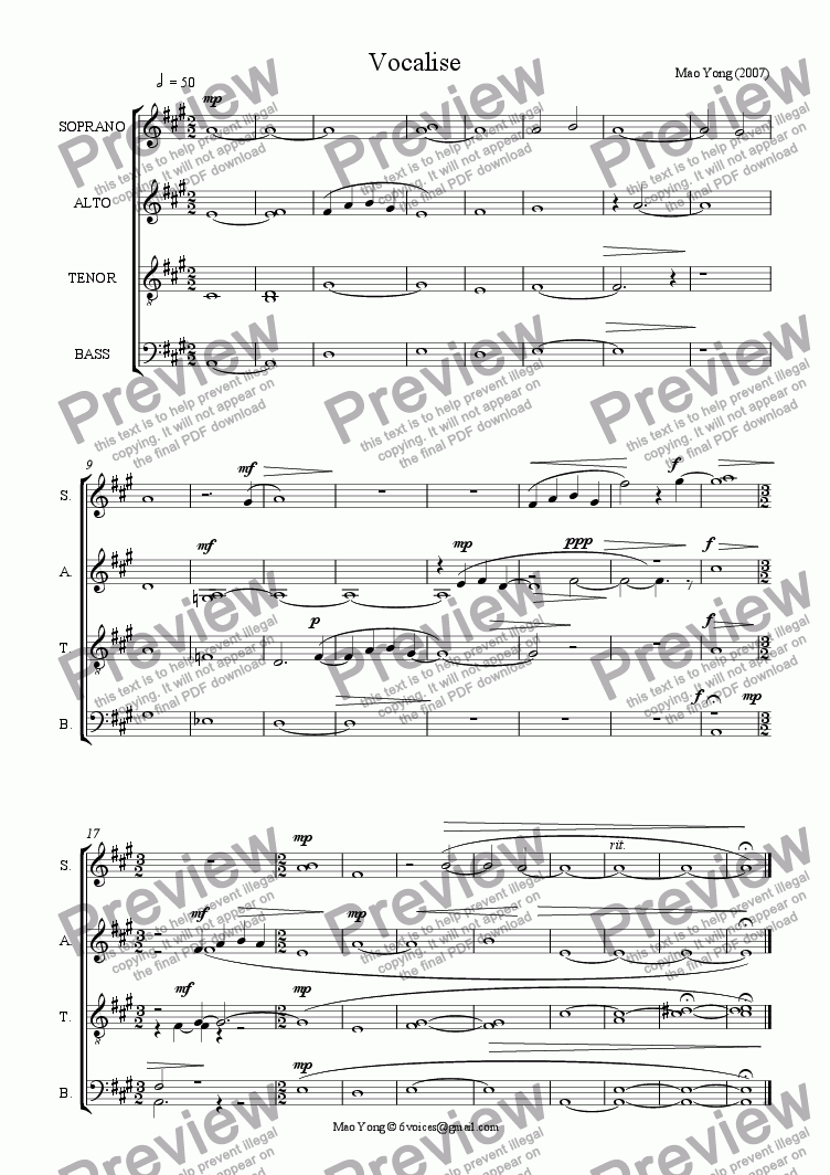 page one of Vocalise (SATB div, A Cappella)