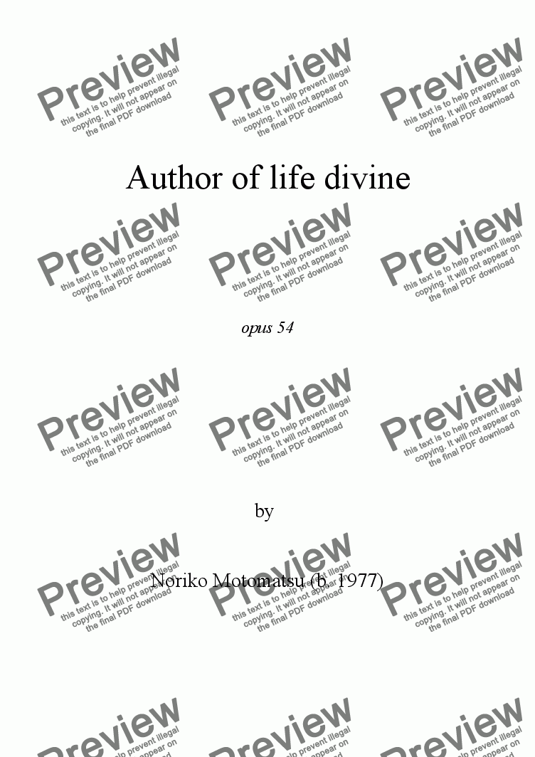 page one of Author of life divine