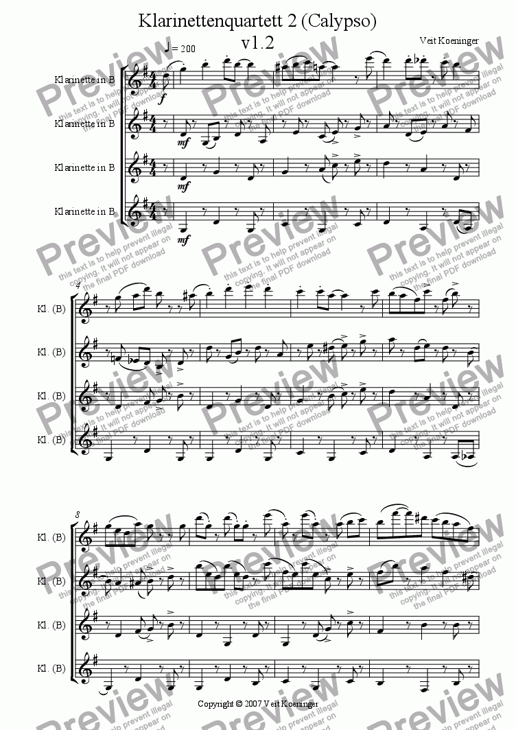 page one of Clarinet quartet 2 (Calypso)