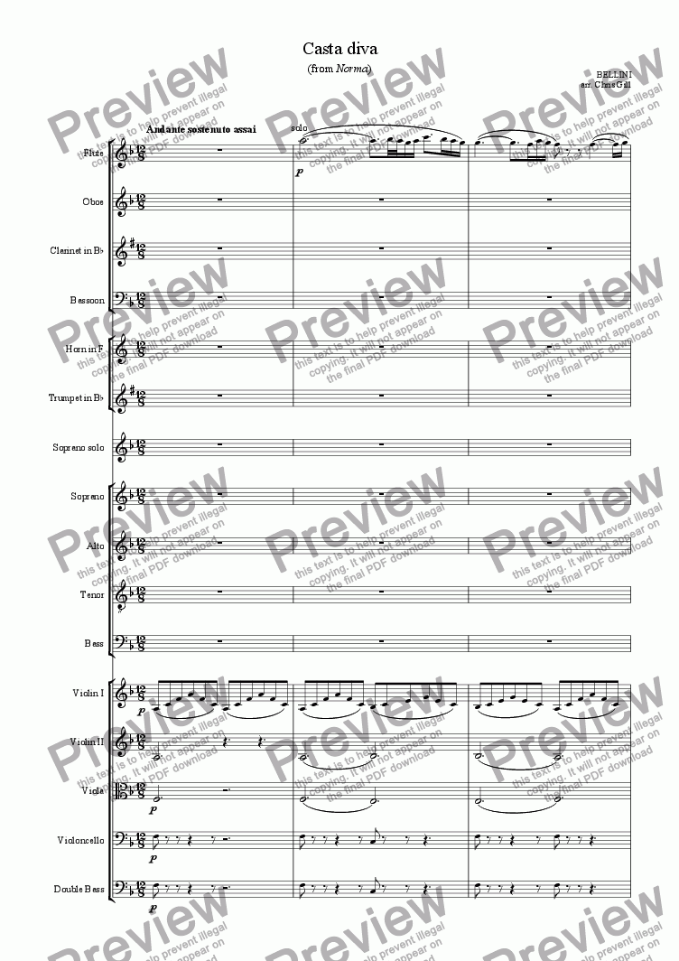 page one of Casta Diva (from Norma) arranged for soprano, optional choir and small orchestra