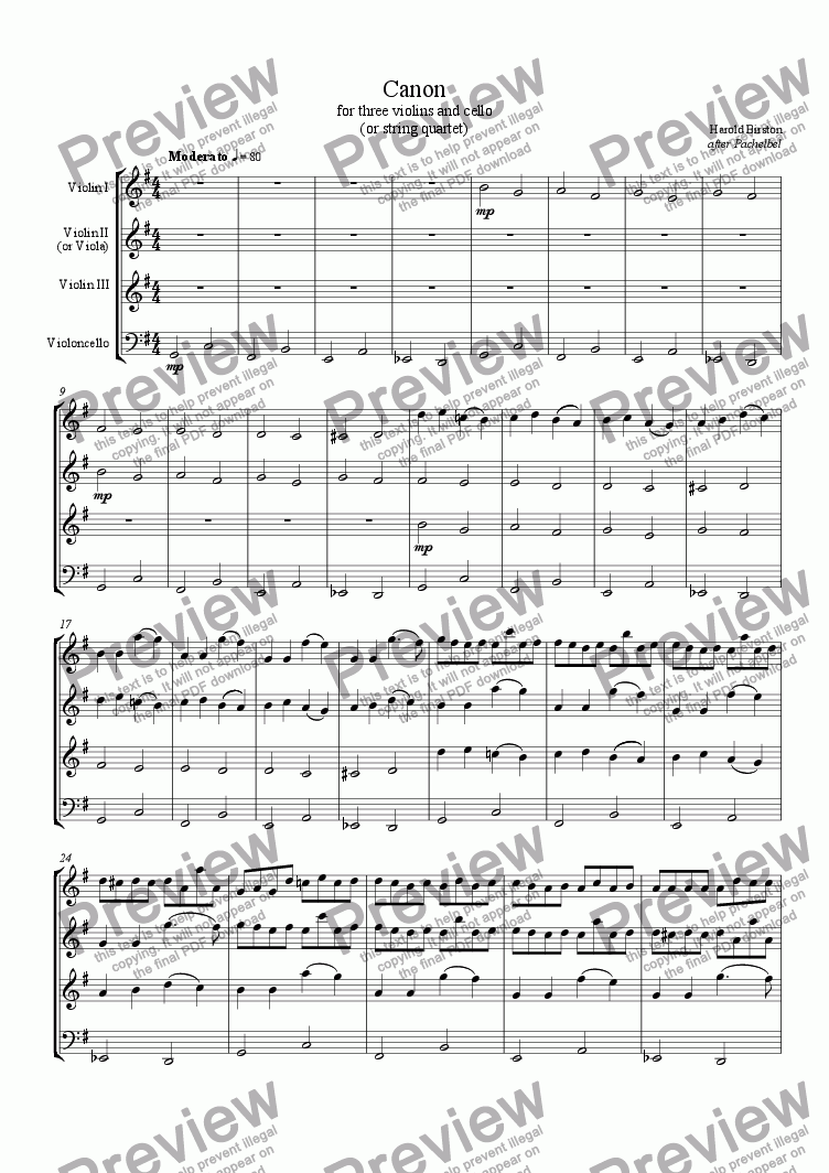 page one of Canon in G Major