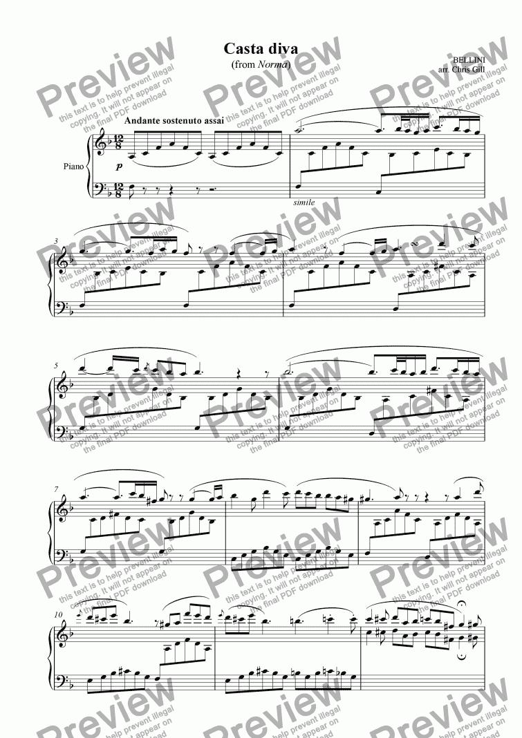 Casta diva from norma arranged for soprano optional - Norma casta diva testo ...