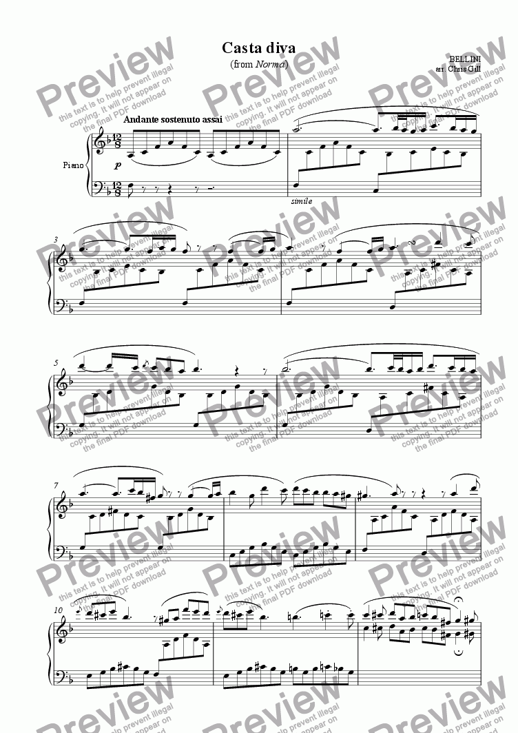 page one of Casta Diva (from Norma) arranged for soprano, optional choir and piano