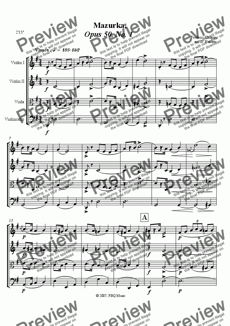 page one of Mazurka, Opus 50, No. 1 (string 4tet)