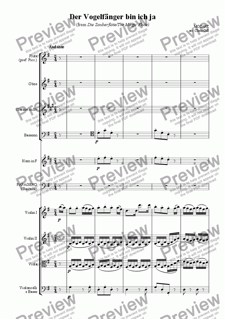 page one of Der Vogelf�nger bin ich ja (from Die Zauberfl�te/The Magic Flute) arranged for baritone and small orchestra