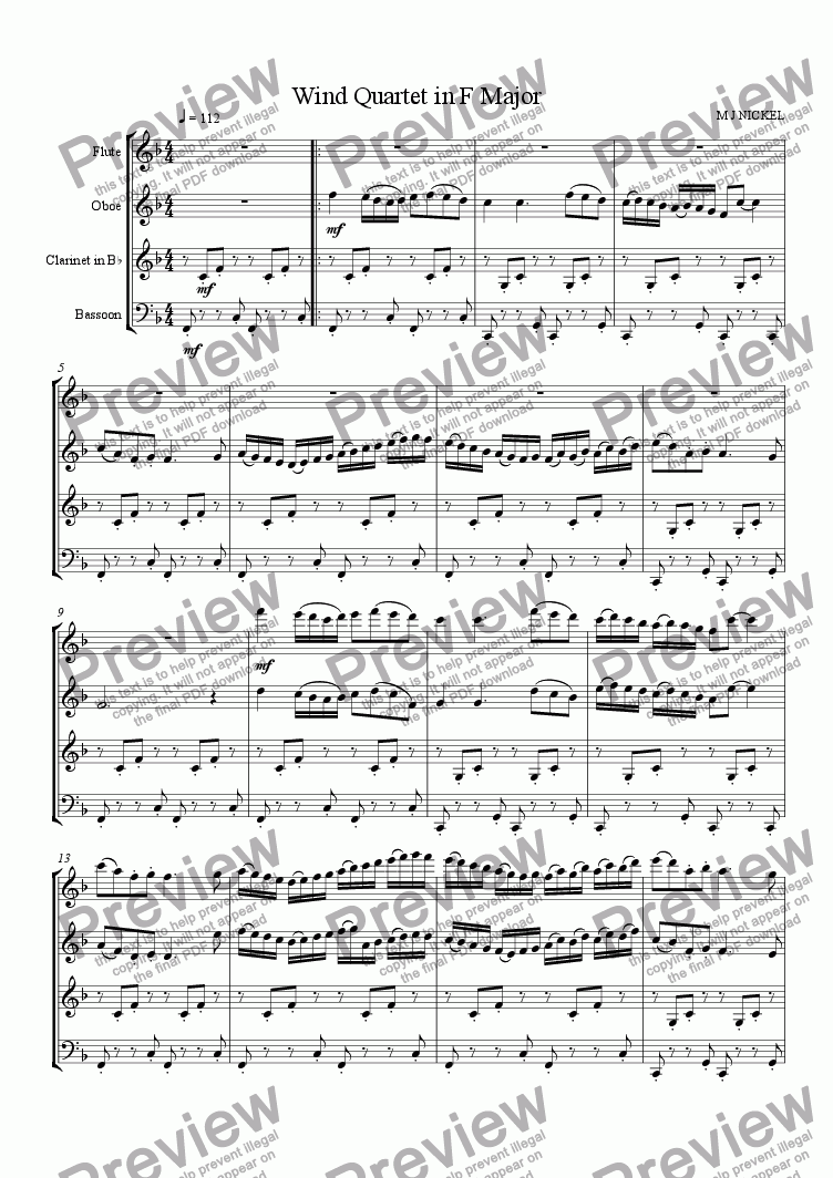 page one of Wind Quartet in F Major