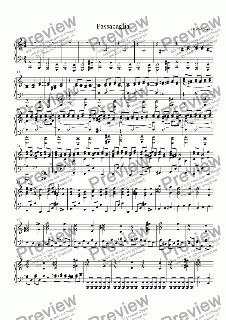 page one of Passacaglia