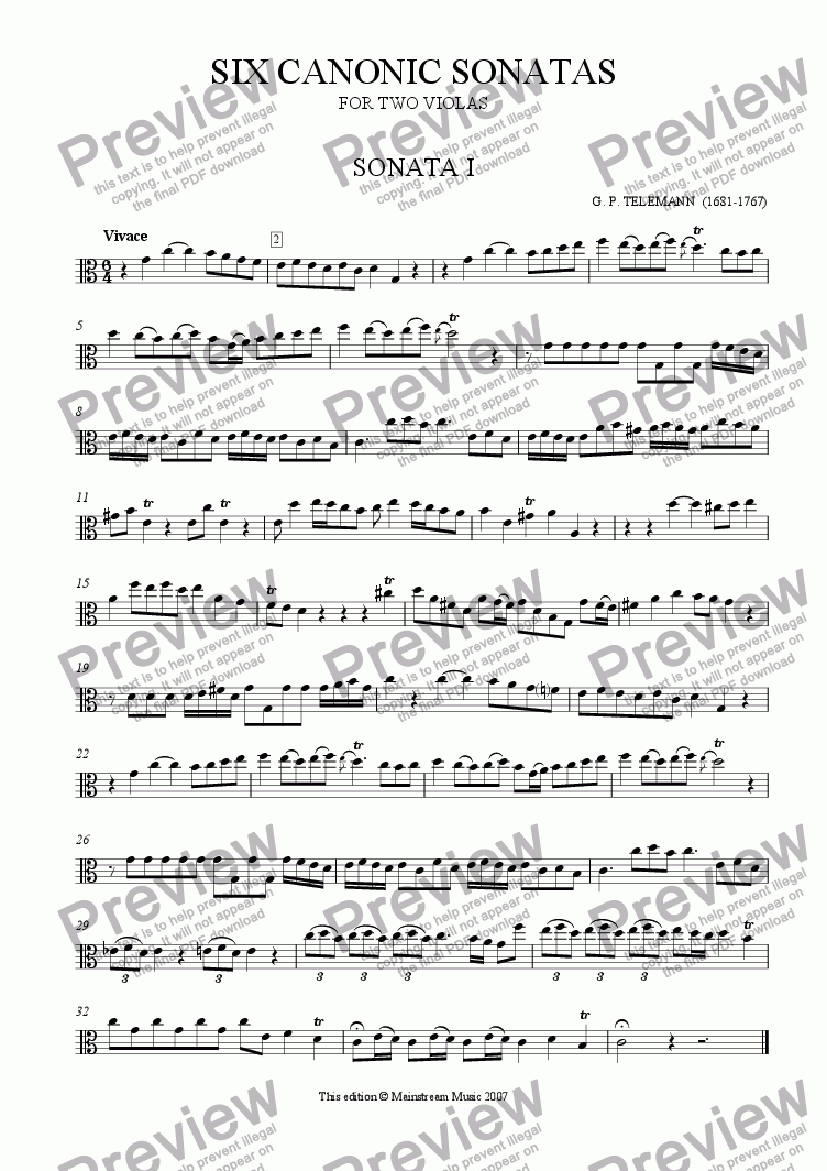 page one of Six Canonic Sonatas for Two Violas