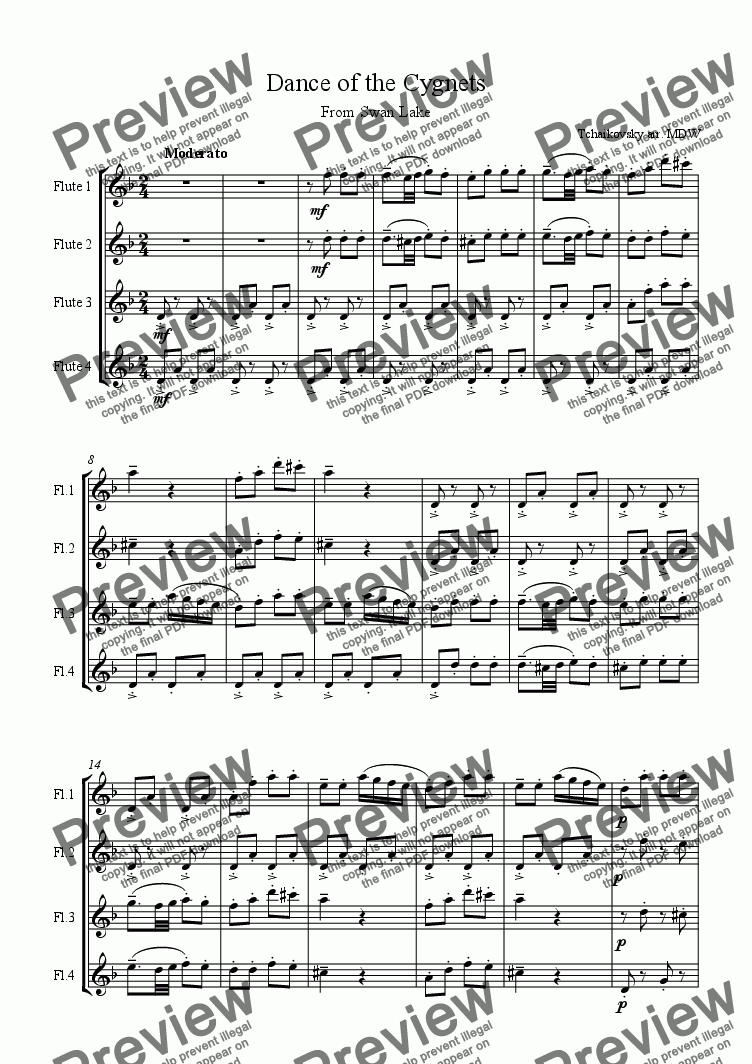 page one of Tchaikovsky Dance of the Cygnets