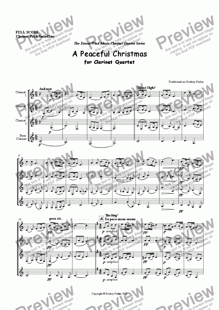page one of A Peaceful Christmas for Clarinet Quartet