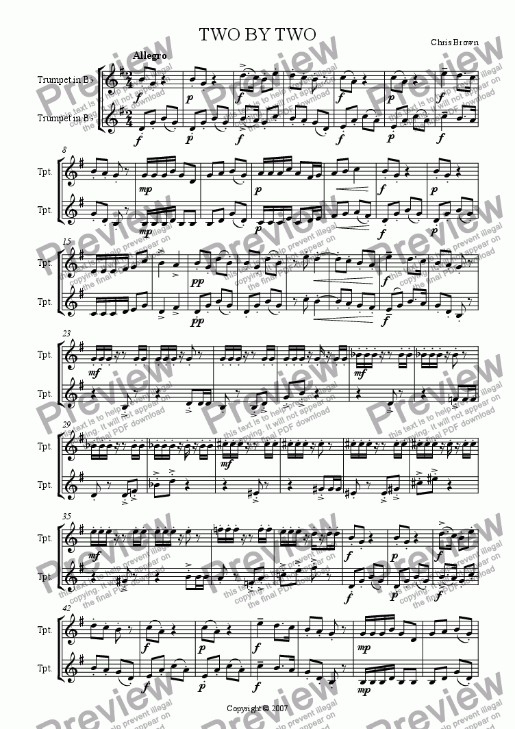 page one of Two by Two: Trumpet Duet