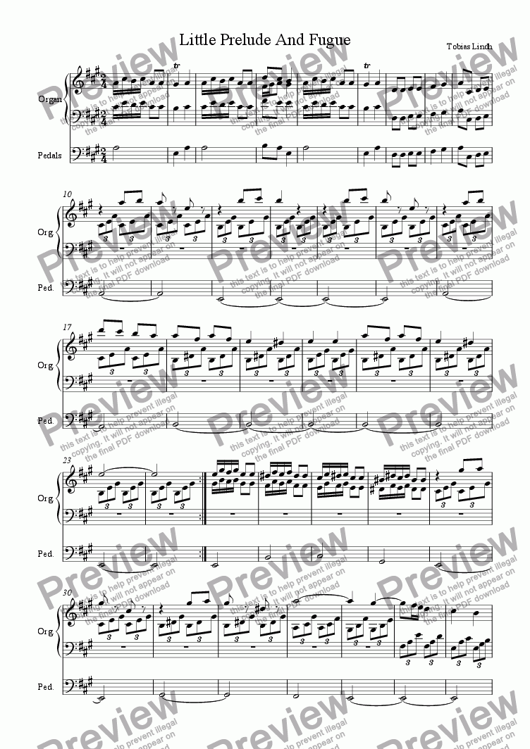 page one of Little Prelude And Fugue