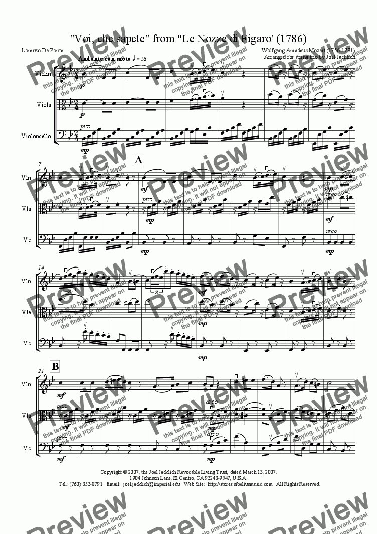 page one of Voi, che sapete, from Le Nozze di Figaro (arr. for string trio)