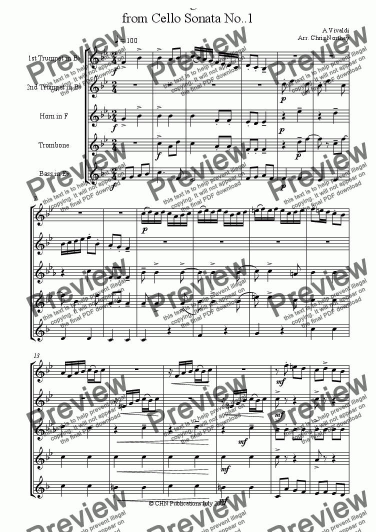 page one of Allegro from Cello Sonata No.1ASALTTEXT