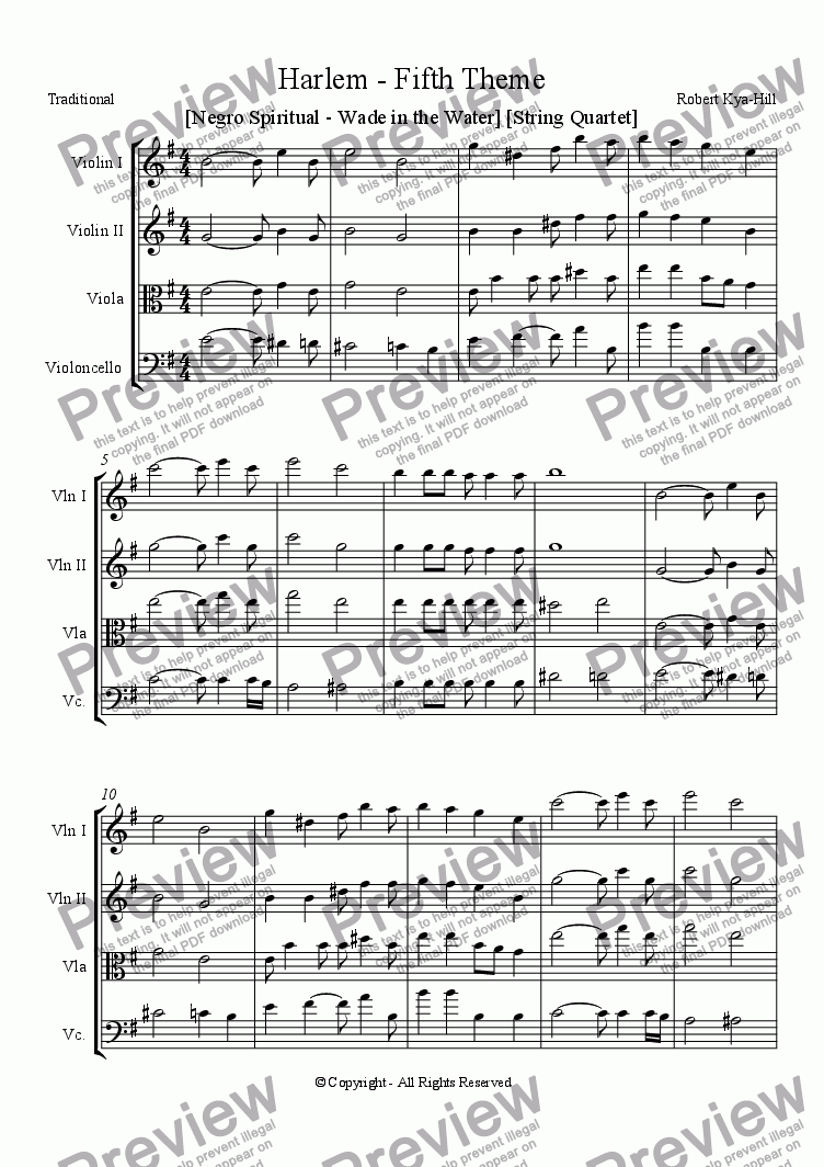 page one of Harlem - Fifth Theme [ Negro Spiritual - Wade in the Water] [String Quartet ]