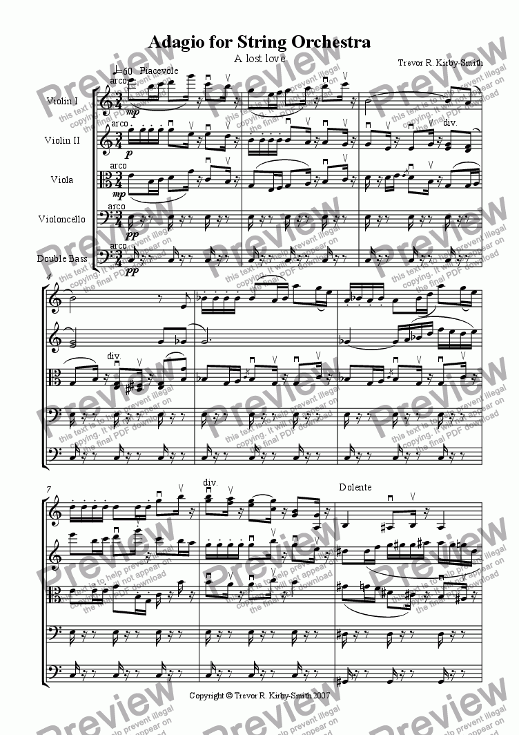 page one of Opus 18 Adagio for String Orchestra