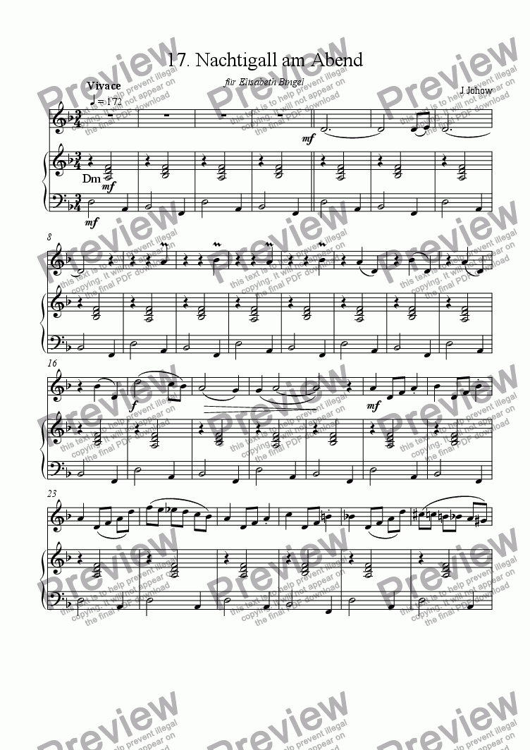 page one of Flute book 17 (The Nightingale in the Evening)