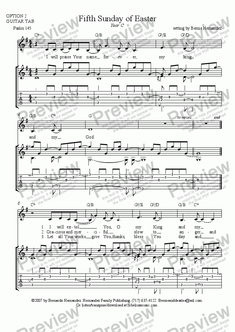 page one of Responsorial Psalm - 5th Sunday of Easter, Yr. C (Guitar Option)