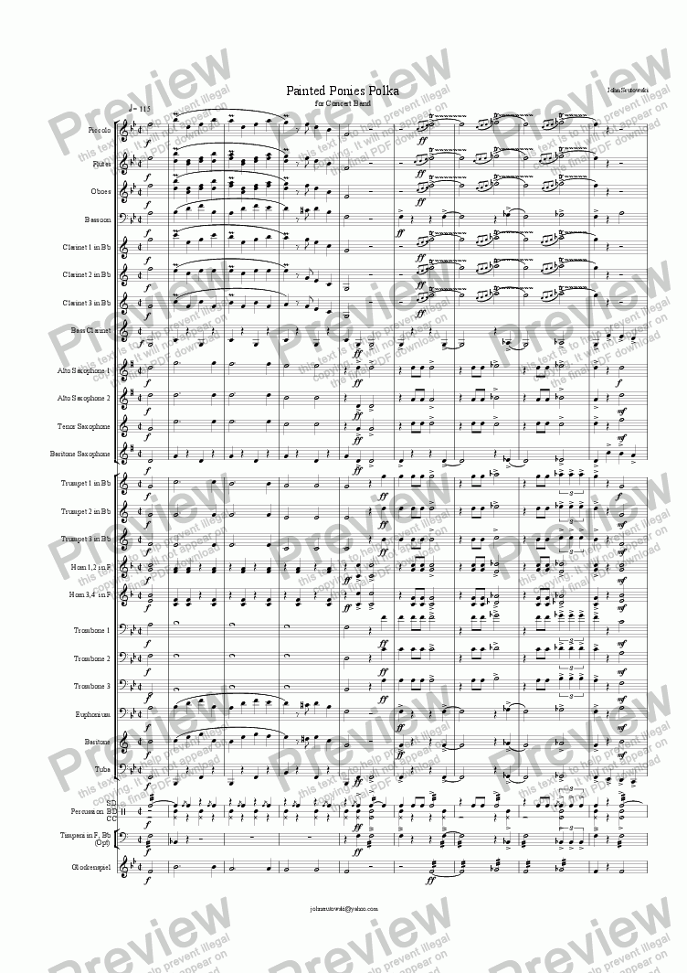 page one of Painted Ponies (An American Polka for Concert Band)