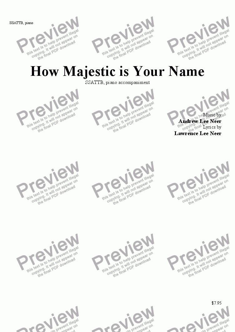 page one of How Majestic is Your Name