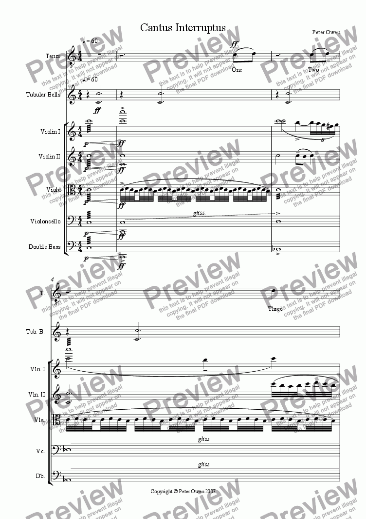 page one of Cantus Interruptus