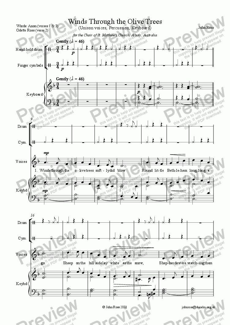 page one of Winds Through the Olive Trees (Unison voices)