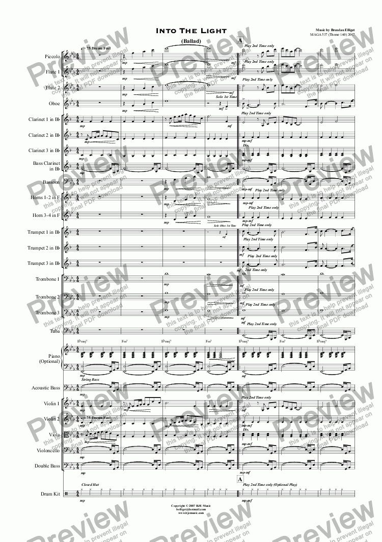 page one of Into The Light (Theme 160) - OrchestraASALTTEXT
