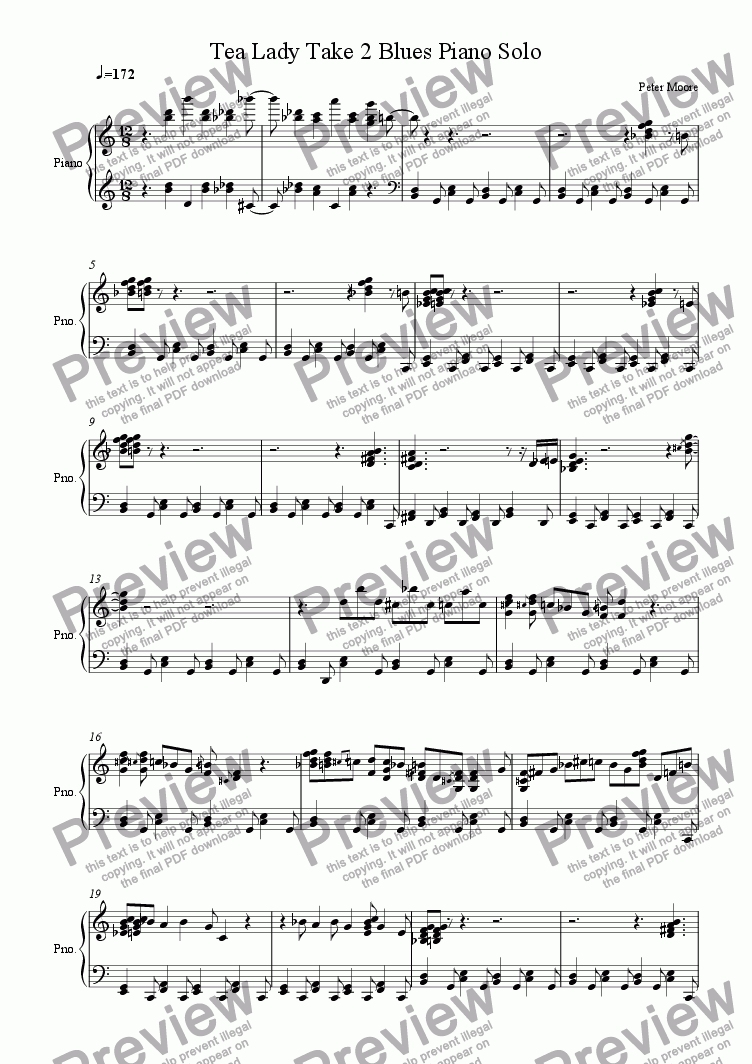 page one of Tea Lady Blues Take 2 Piano SoloASALTTEXT