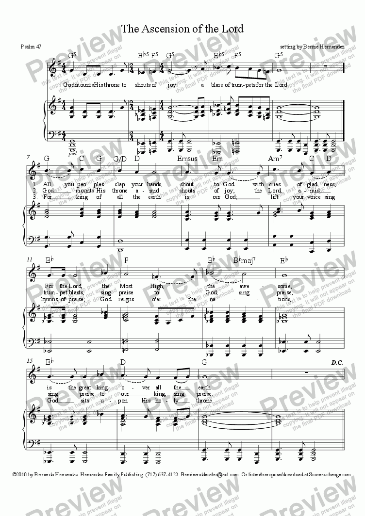 page one of Responsorial Psalm - Ascension of the Lord