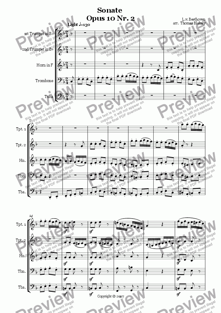page one of Sonate Opus 10 Nr. 2 Presto for Brass Quintet