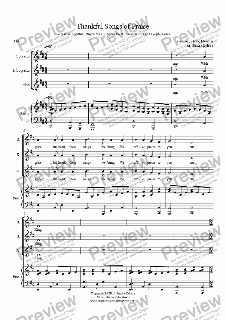 page one of Thankful Songs of Praise