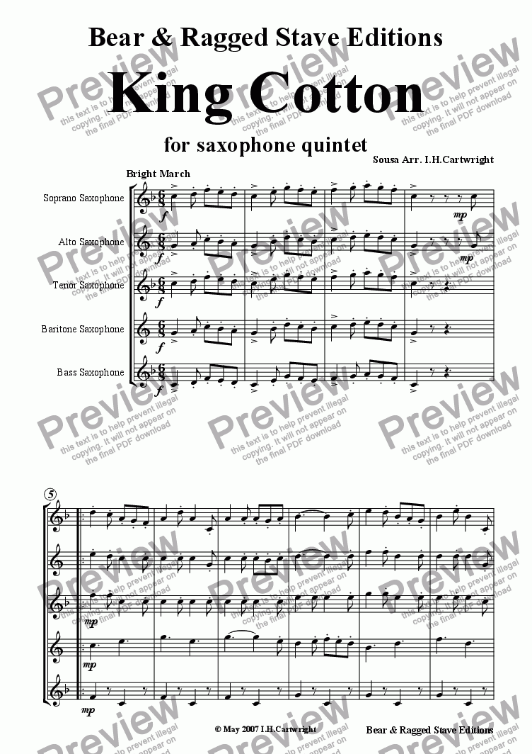 page one of King Cotton for saxophone quintet