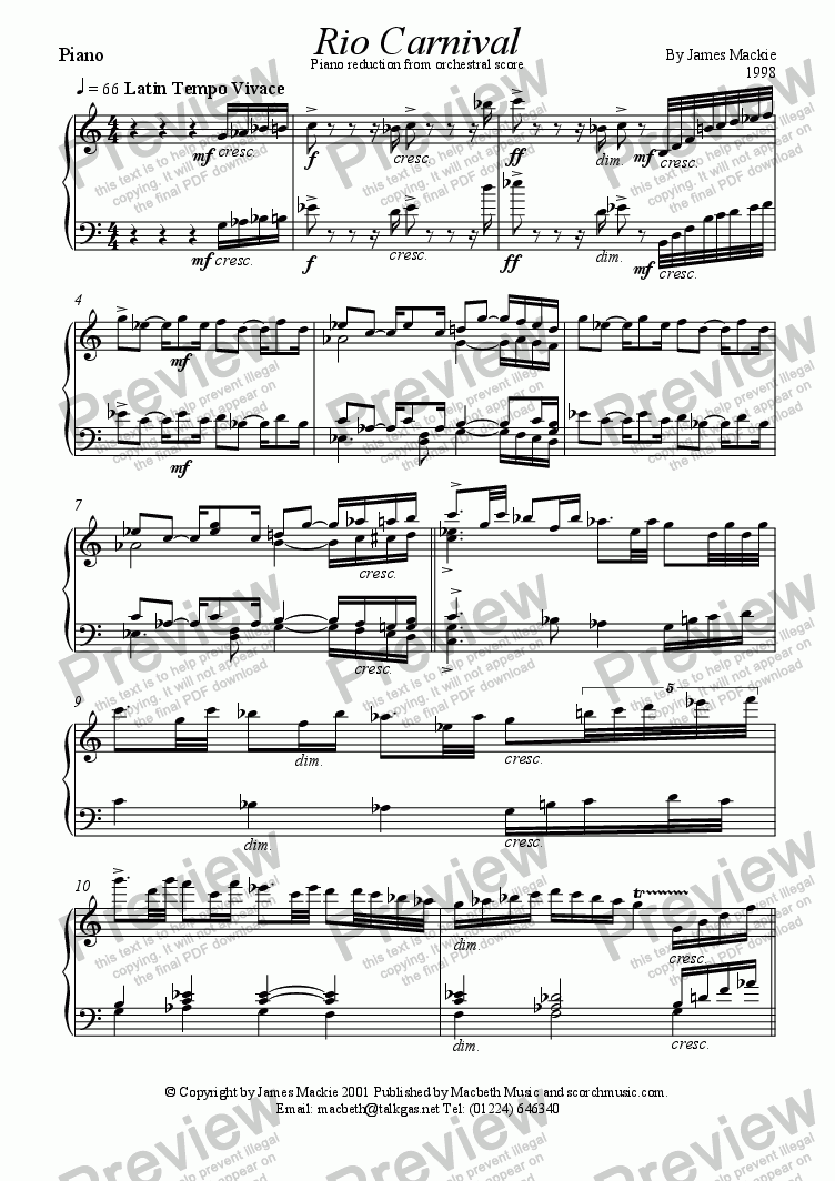 page one of Rio Carnival (Piano red.)