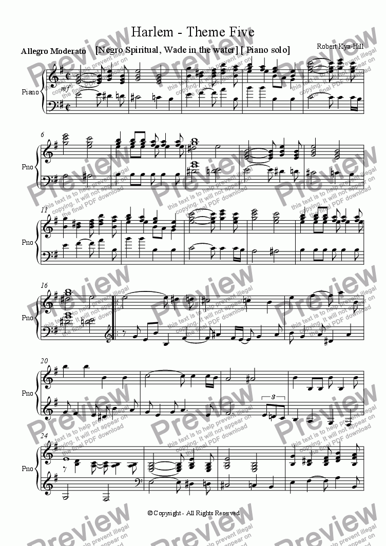 page one of Harlem - Fifth Theme  [Negro Spiritual - Wade in the Water] [Piano Solo]