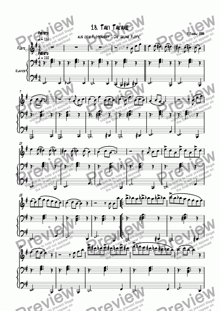 page one of Flute book 18 (Taki Takahe)