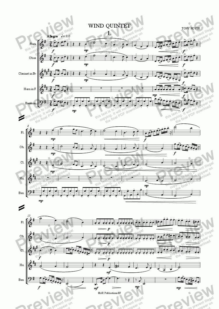 page one of Wind QuintetASALTTEXT