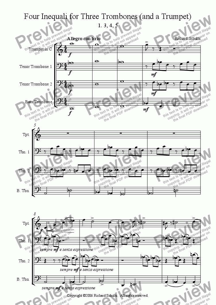page one of Four Inequali for Three Trombones (and a Trumpet):  I.  3, 4, 5ASALTTEXT